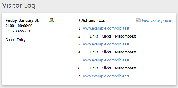 Matomo internal link click tracking Piwik