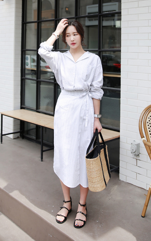 Striped Notched Collar Shirt And Wrap Skirt (Set)