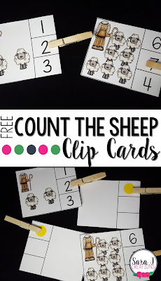 Free count the sheep clip cards for numbers 1-10.  Great for counting and fine motor skills for preschool and kindergarten students.