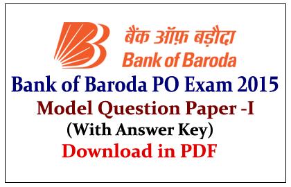 Bank of Baroda PO Exam 2015 Model Question Paper-I in pdf