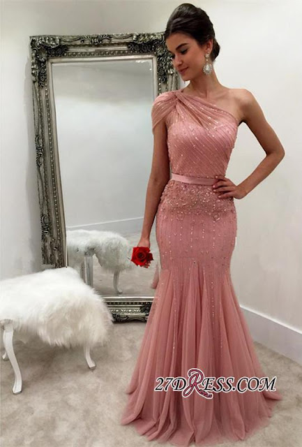 Modest One-Shoulder Mermaid Long Beads Sleeveless Prom Dress