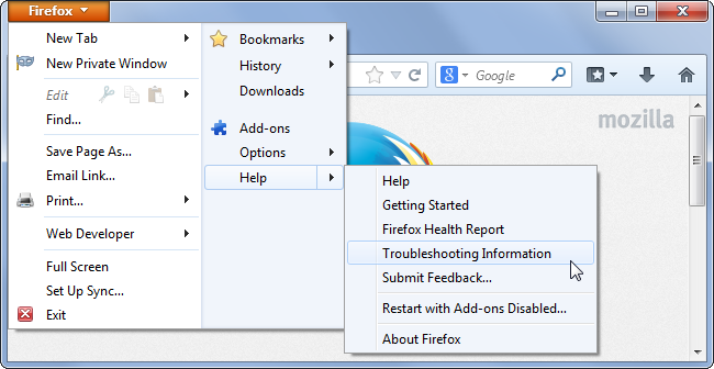 Reset Firefox to remove pop-ups generating adware