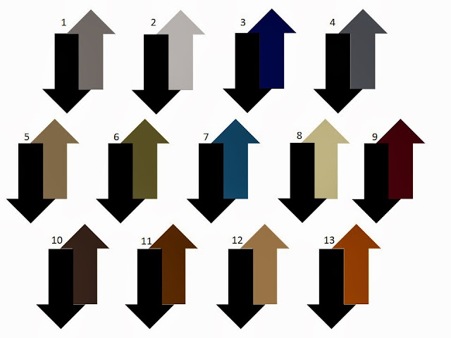 13 possible combinations of a second neutral color with black