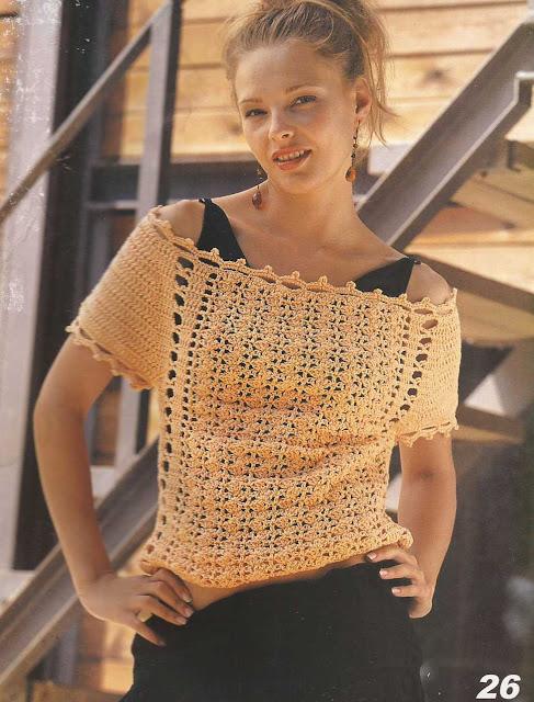Patrón 909 Blusa Dorada a Crochet
