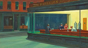 Nighthawks by Edward Hopper animatedfilmreviews.filminspector.com