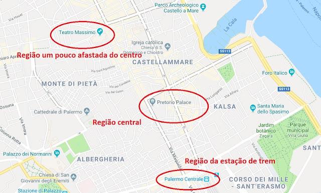 Mapa das melhores regiões de Palermo