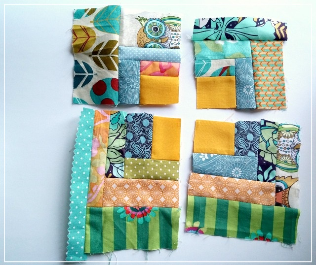 Puppilalla, Patchwork, Improv piecing, log cabin, courthouse steps, scrap block