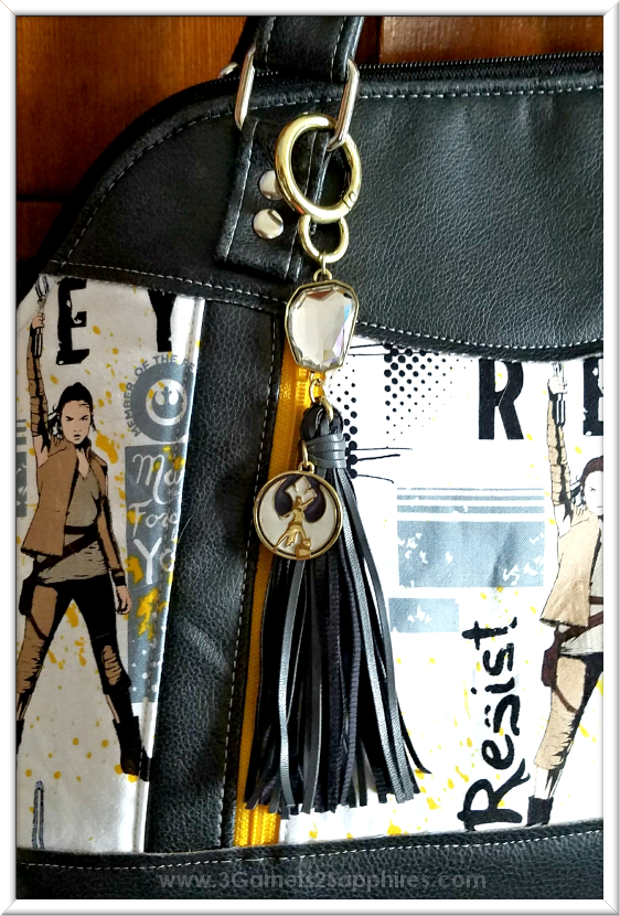 Perfect Purse Charm for this Custom Star Wars Handbag | 3 Garnets & 2 Sapphires