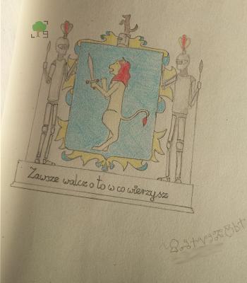 rysunek herbu lew z mieczem