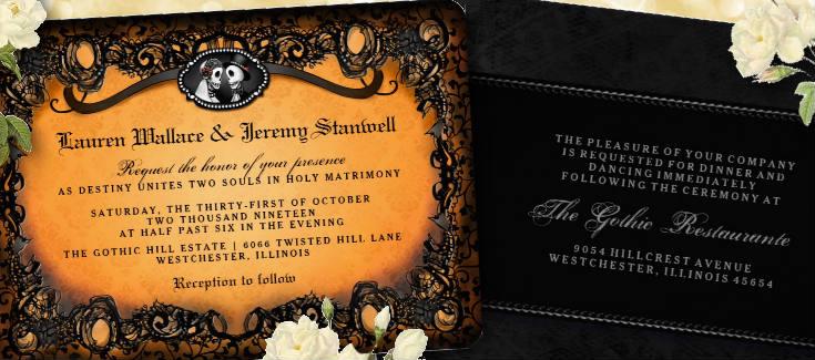 bride and groom Halloween Wedding Skeletons Orange and Black Wedding Invitation Template