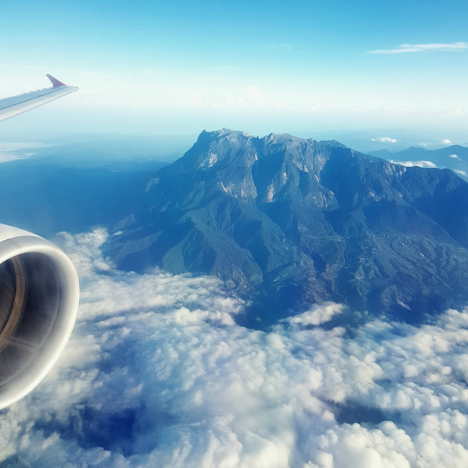 View of Mount Kinabalu in Sabah Northern Borneo from above