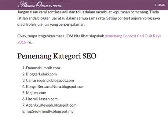 Menang Kontest SEO 2016 AkmaOmar.com