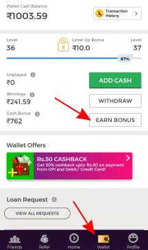 winzo gold earn cash bonus