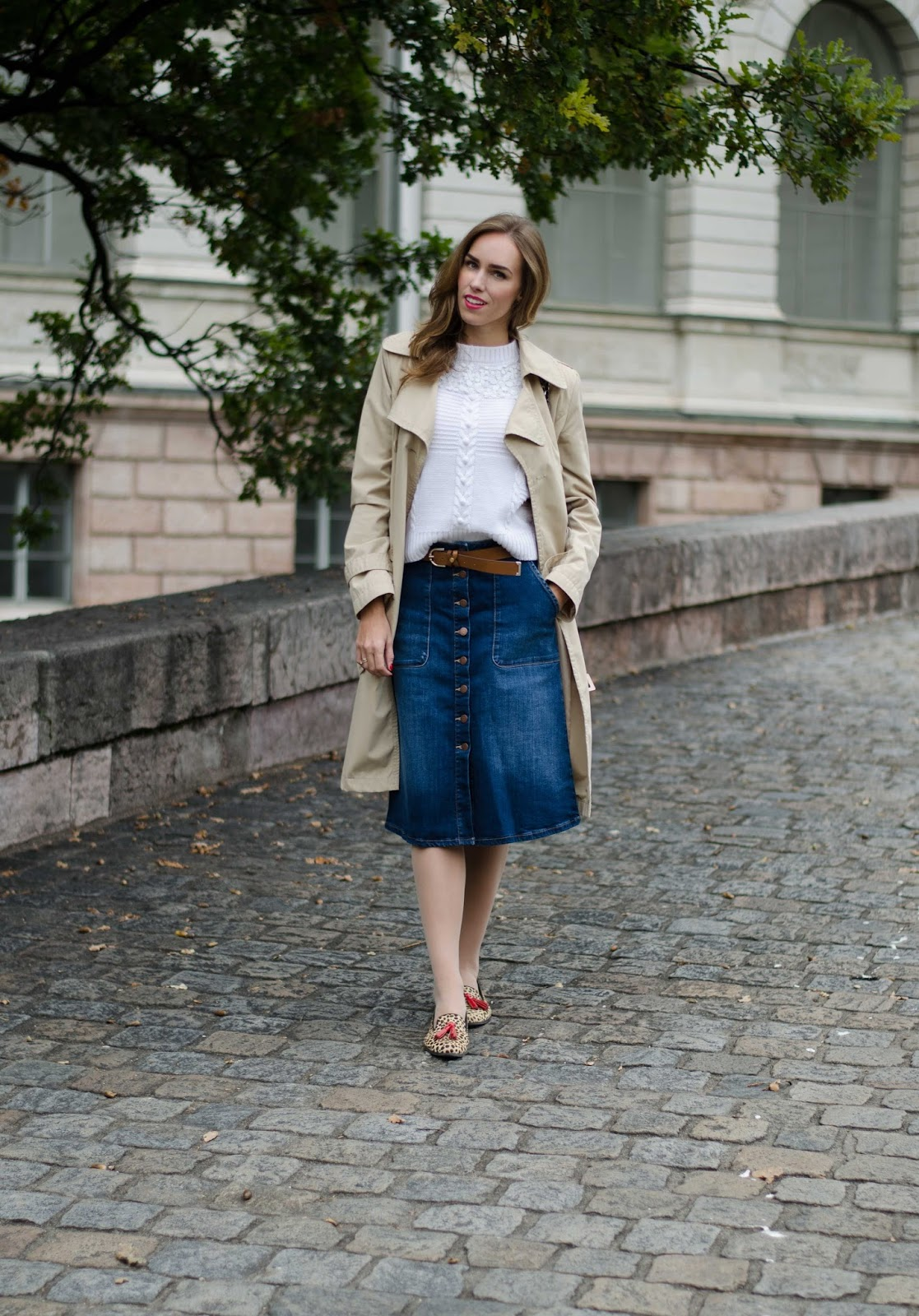 kristjaana mere trench coat white jumper denim button front midi skirt fall outfit