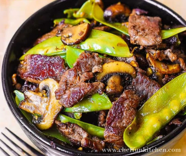 Asian Beef With Mushrooms And Snow Peas