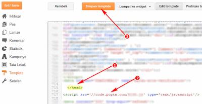 Letakkan kode lalu klik Simpan template