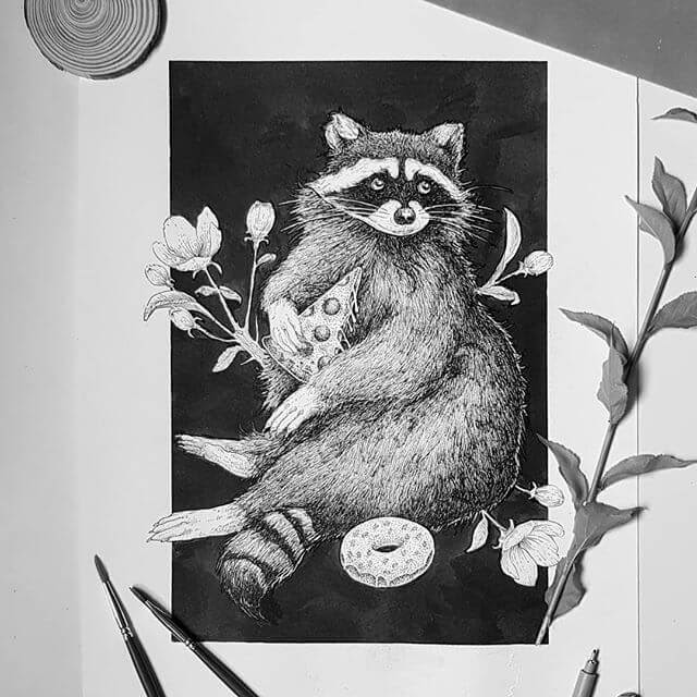 03-Pizza-Raccoon-Juan-Velilla-Drawings-www-designstack-co