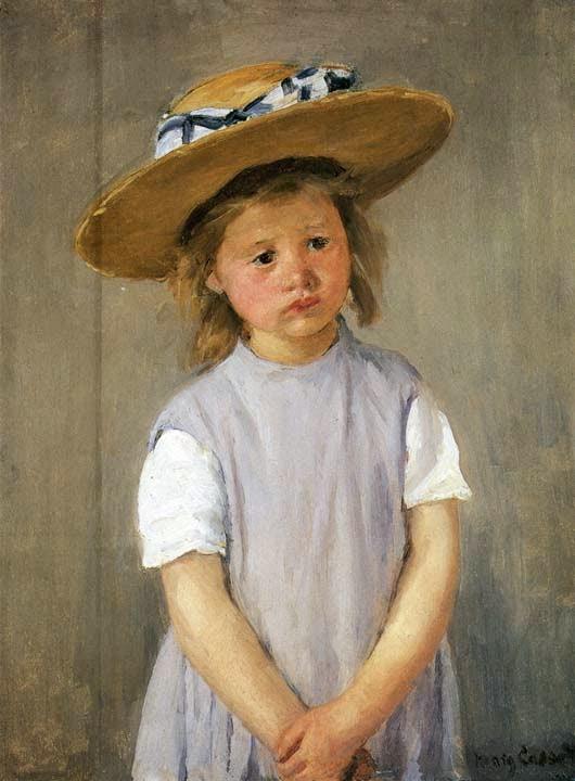 Criança com um Chapéu de Palha - Pinturas de Mary Cassatt | Mulheres na pintura
