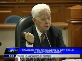 comelec chairman sixto brillantes barangay election