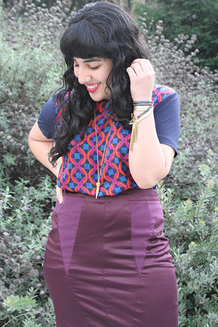 Kaleidoscope Print Top and Silence + Noise Skirt Outfit