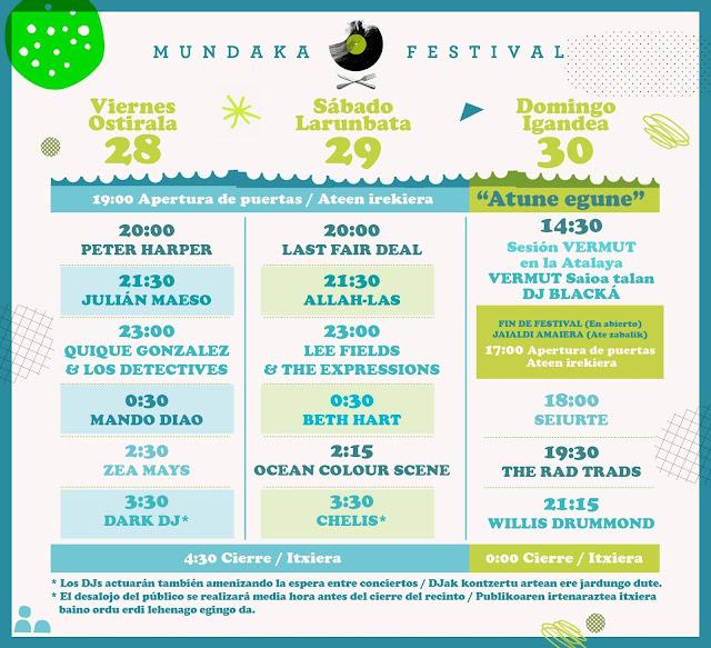 Mundaka, festival, 2017, cartel, horarios, mando diao, quique gonzalez, ocean colour scene