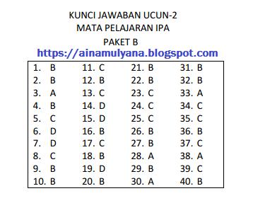 dipakai pemerintah DKI Jakarta sebagai parameter dalam mengukur kesiapan siswa menghada SOAL DAN KUNCI JAWABAN UCUN 2 IPA Sekolah Menengah Pertama TAHUN 2018 – 2019 (PAKET B)