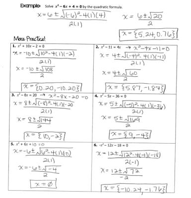 Grade 6 Math with Ms. Eringis : Answer Key--Quadratic ...