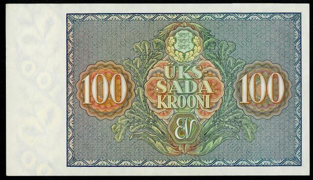 Estonian 100 Krooni banknote bill