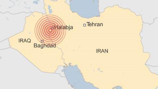 Карта Ирана, Ирака. Землетрясение