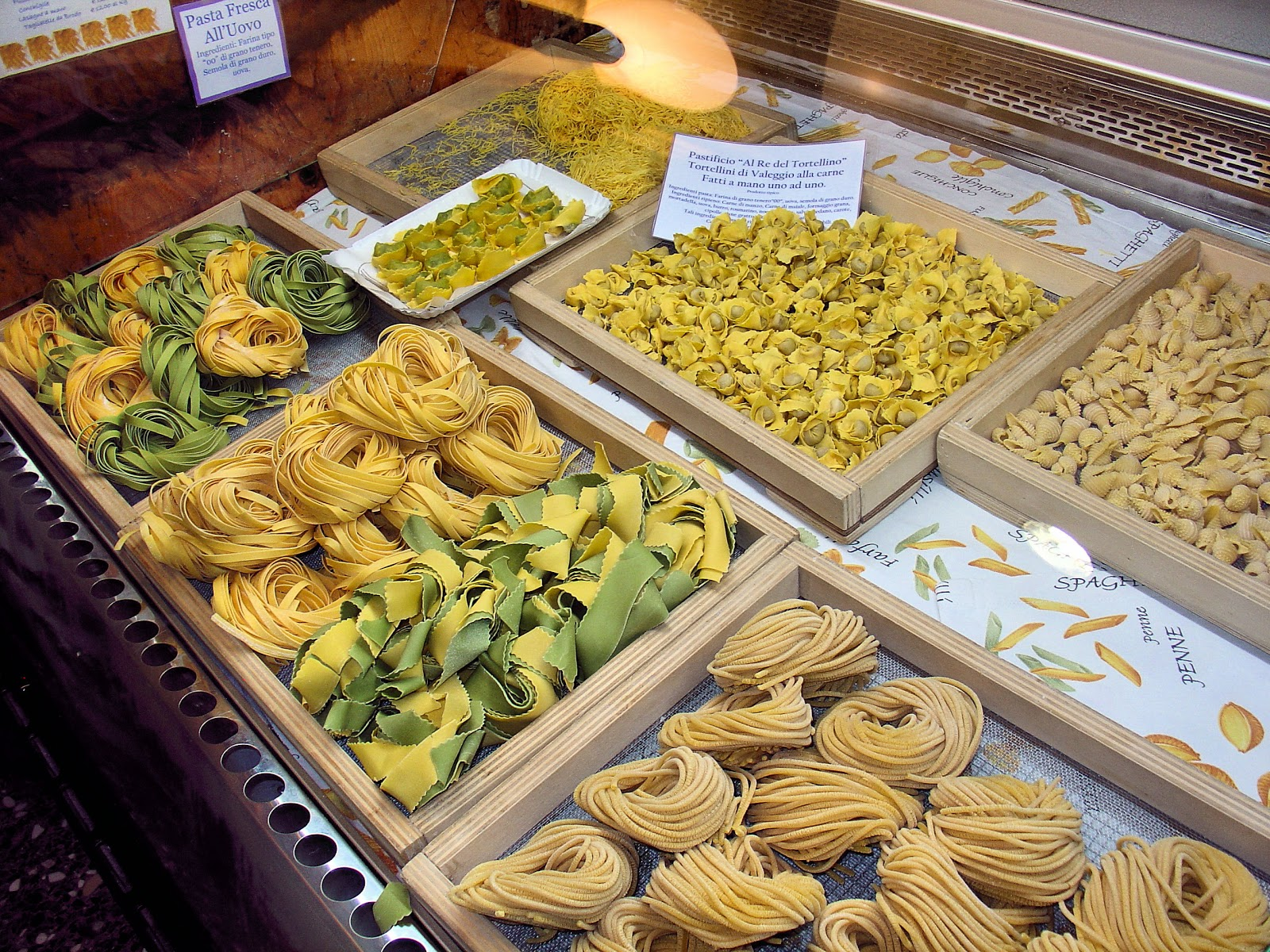 Scrumptious homemade pasta fills the cases inside Al Re de Tortellino.