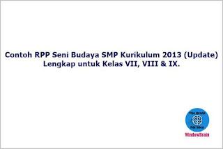 Contoh RPP Seni Budaya SMP Kurikulum 2013 (Update)