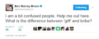 Someone should explain 'gift and 'bribe' to me-Bruce