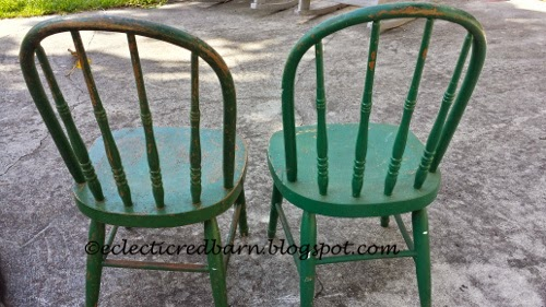 Eclectic Red Barn: Chippy green children's chairs from the back