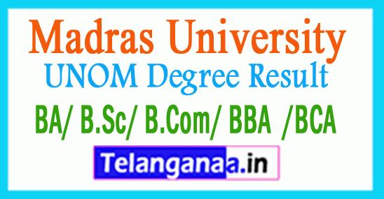 Madras University UNOM Degree Result