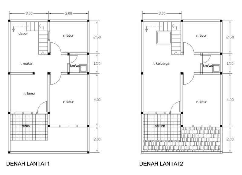 Desain Rumah 2 Lantai Type 2160