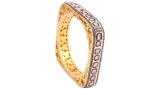 Attractive Diamond Polki and Rosecut Diamond Gemstone 18k Gold & Silver Designing Victorian Bangle