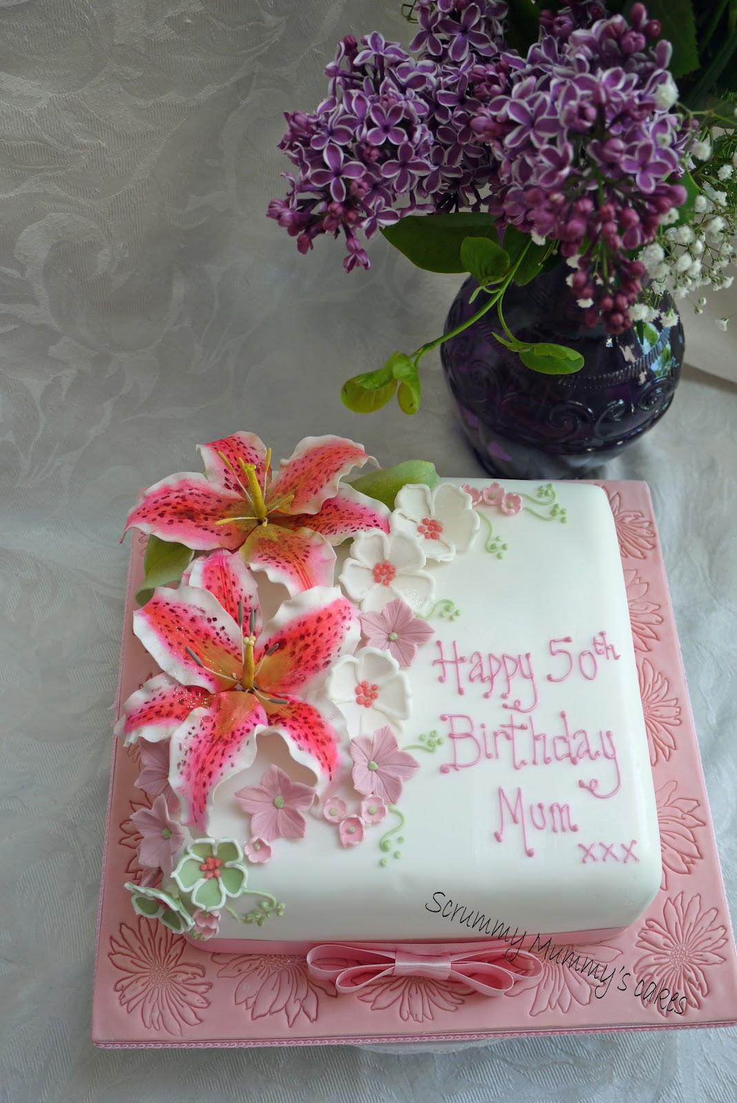 Scrummy Mummy S Cakes Stargazer Lily 50th Birthday Cake