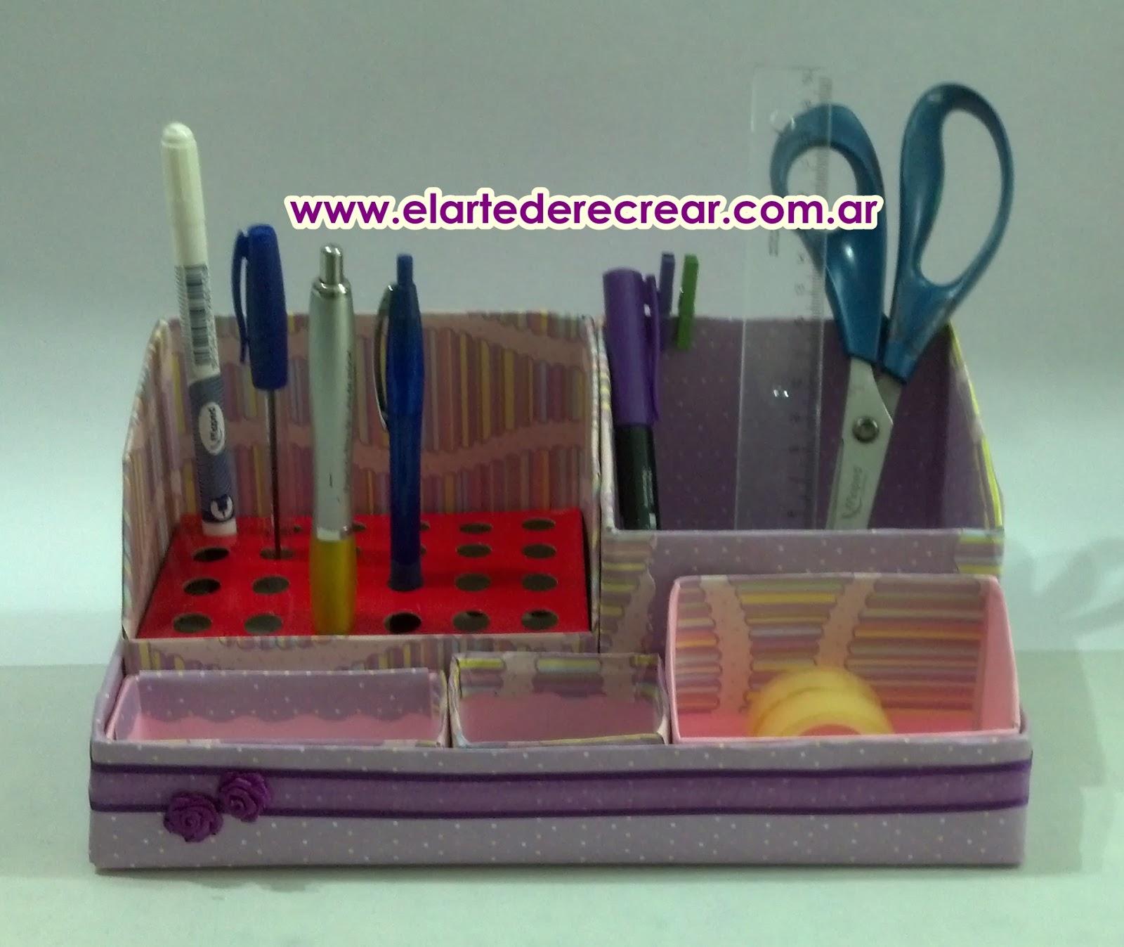 Organizador de escritorio casero con material reciclado de cart n recrear manualidades arte - Organizador de escritorio ...