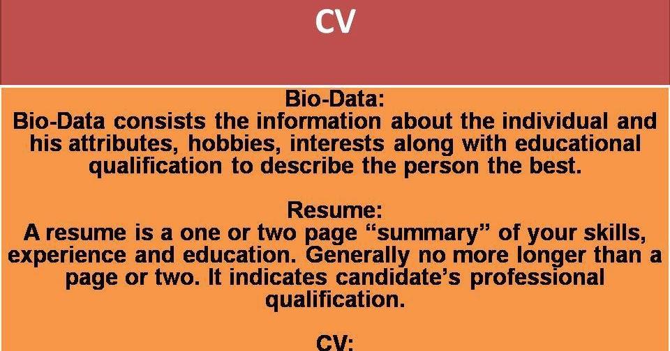 bio resume difference