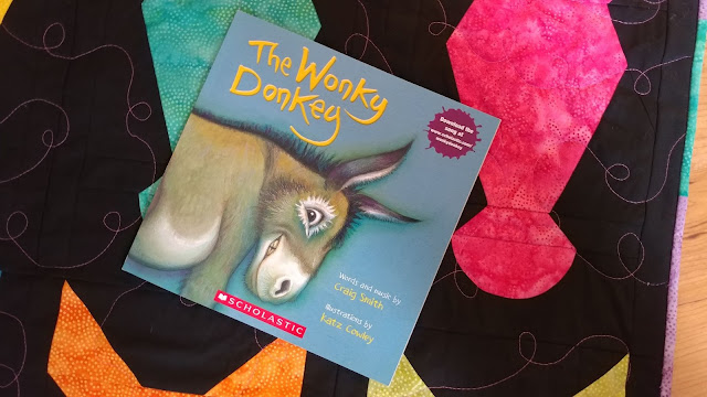 Donkey quilt inspired by The Wonky Donkey book