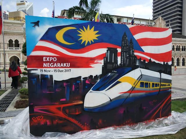 Malaysia Graffiti piece with KLCC, MRT, and Malaysia Flag