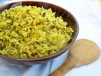 split mung and basmati rice