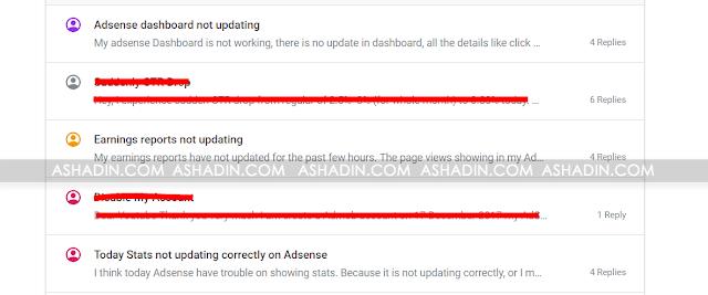 Angka Statistik Adsense tidak update?
