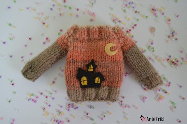 pullip blythe knitting sweater jersey halloween ghost pumpkin spider caldero araña fantasma dracula vampiro vampire casa encantada haunt house dos agujas muñeca barbie kawaii arte friki hecho a mano ropa muñeca