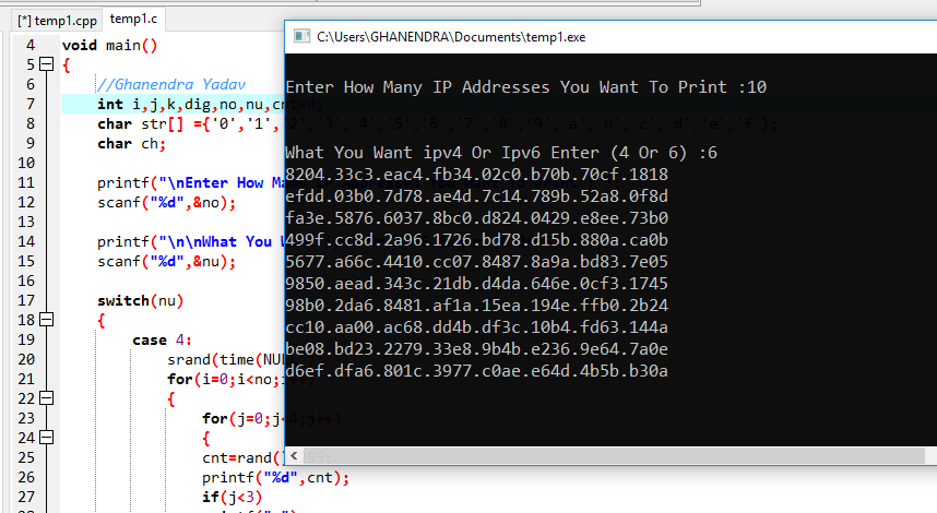 C Program To Generate IP Addresses (Internet Protocol) Using For Loop