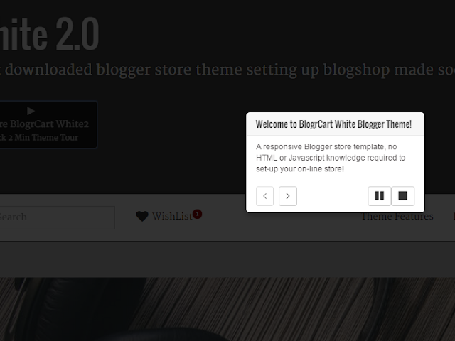 BlogrCart White2 Blogger Store E-commerce template featured theme tour