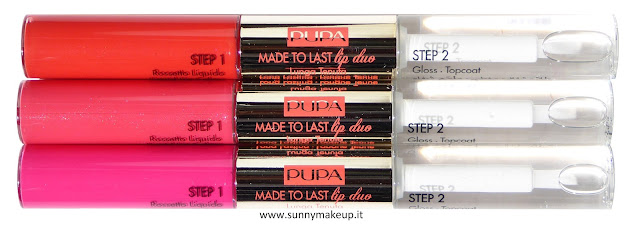 Pupa - Coral Island. Made To Last Lips. 001 Hot Coral, 002 Pink Sunrise, 003 Fuchsia Passion.