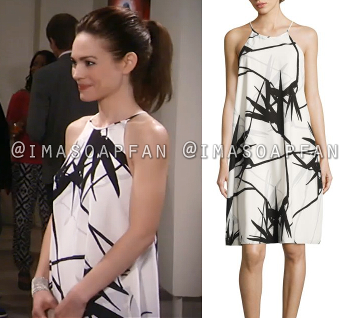 Elizabeth Webber, Rebecca Herbst, Black and White Trapeze Dress, General Hospital, GH