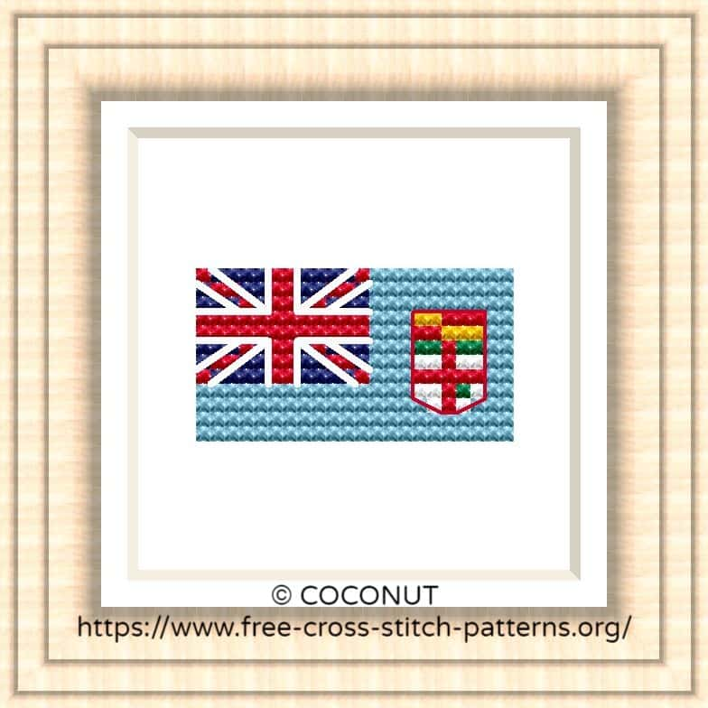 NATIONAL FLAG OF FIJI CROSS STITCH CHART