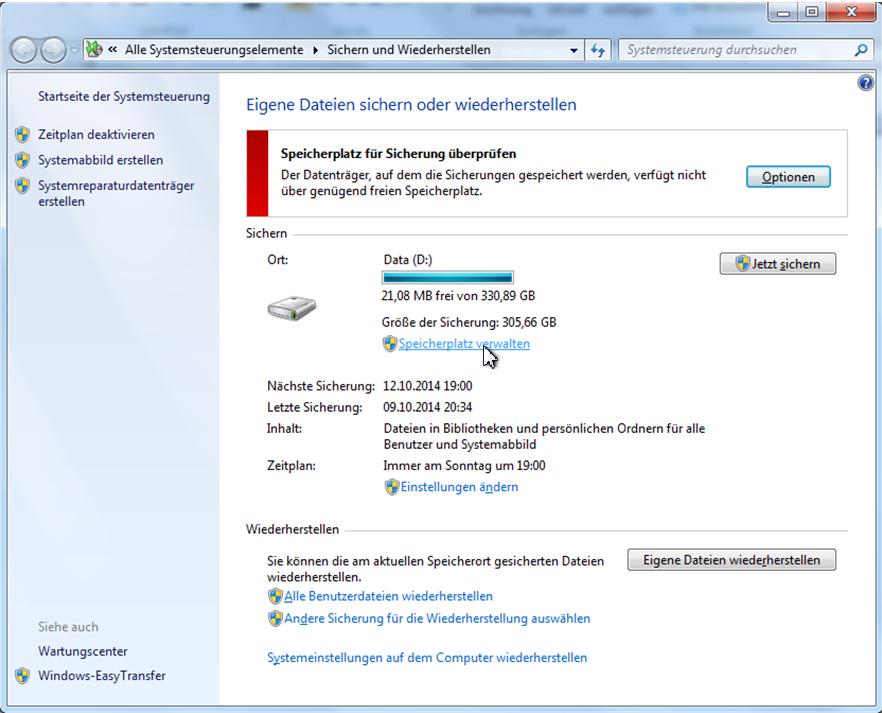 sichern auf externer festplatte windows 10